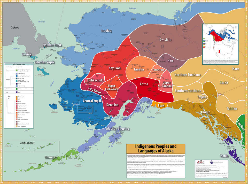 Map showing boundaries of Alaska Native cultures and peoples traditional range