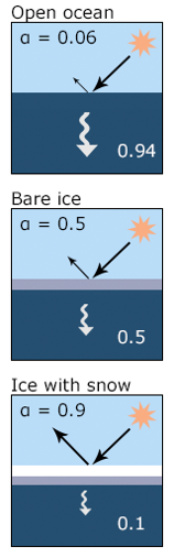 Diagram comparing amount of incoming solar radiation reflected back to the atmosphere and absorbed by open ocean (6%), ice (50%) and snow-covered ice (90%)