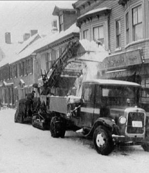 A Barber-Green snow loader at work in Newport, Rhode Island. 1930s.in Providen