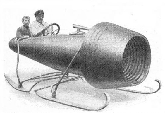 two men in a sleigh propelled by a giant suction turbine fan