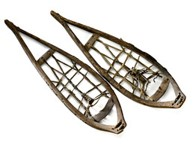Wooden snowshoes, 54 cm. long, squared toe, wood with simple lashings