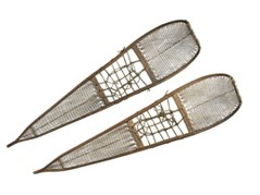 snowshoes, 132 cm. with upturned toes and tightly woven webbing