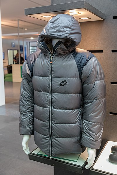 A down jacket on display in a store