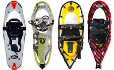 assortment of modern snowshoes made from commercial materials