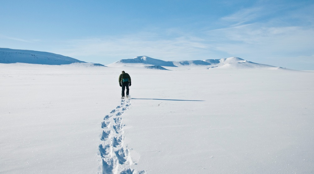 Person walking in snowy landscape on snowshoes