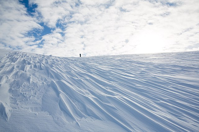 long directional snowdrifts on tundra