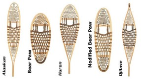 Diagram showing five styles of traditional wooden snowshoes