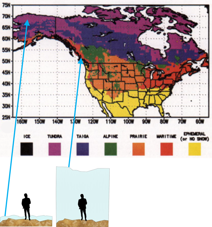 A map of different snow classes of Canada and the U.S. with an illustration of typical snow depth for tundra and maritime regions, person for scale