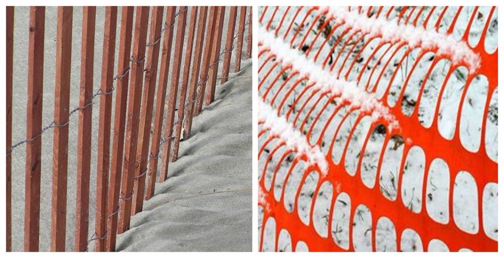 Picket and wire snow fence (left) and plastic mesh snow fence (right) materials