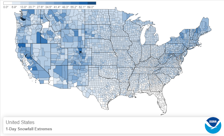 Map showing 1-day snowfall extremes for the continental U.S.